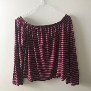 Off the shoulder striped long sleeve